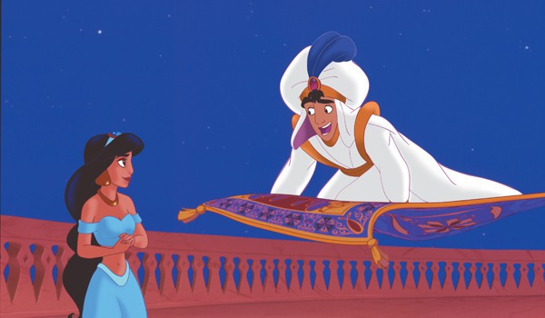 Aladdin courts Jasmine with a magic carpet