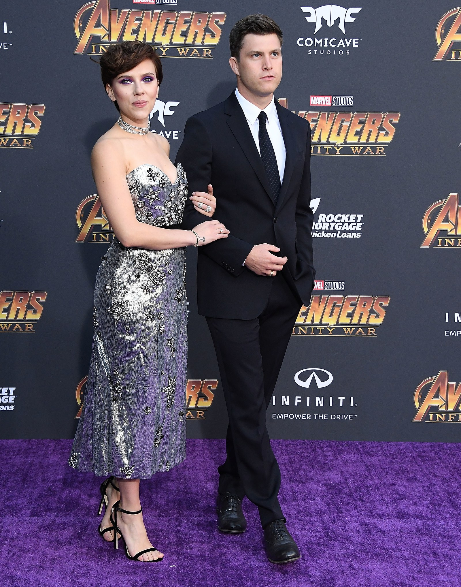 Scarlett Johansson and Colin Jost at the Avengers Infinity War premiere in 2018.