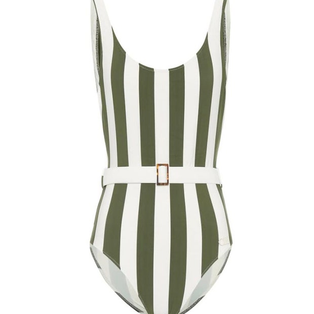 Belted stripe one-piece swimsuit