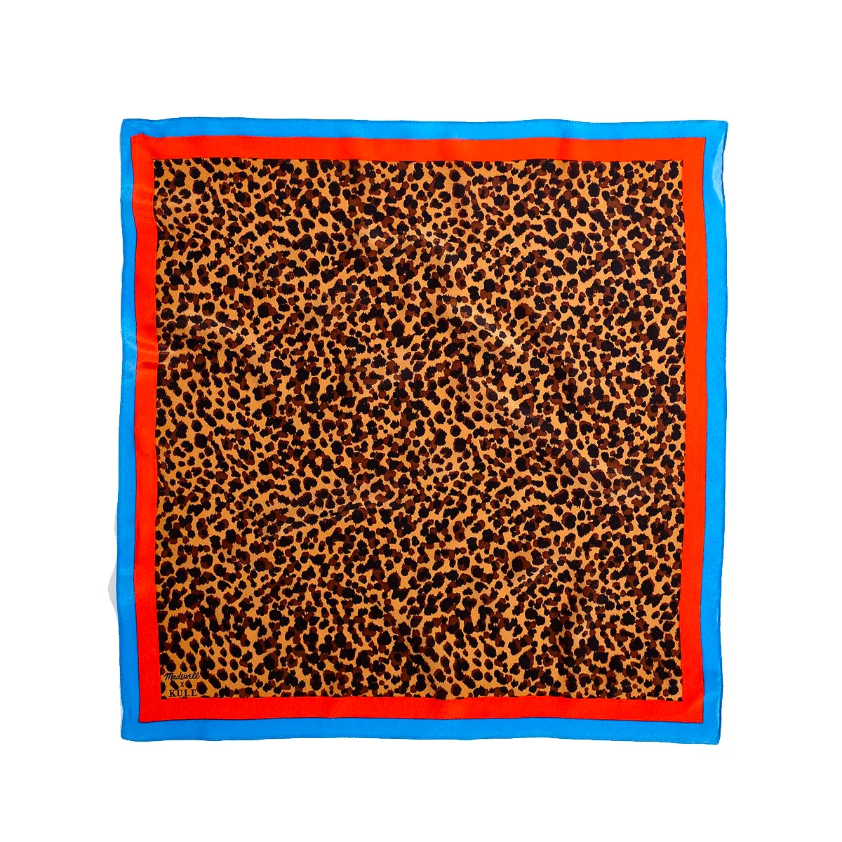Leopard print scarf with red and blue lining