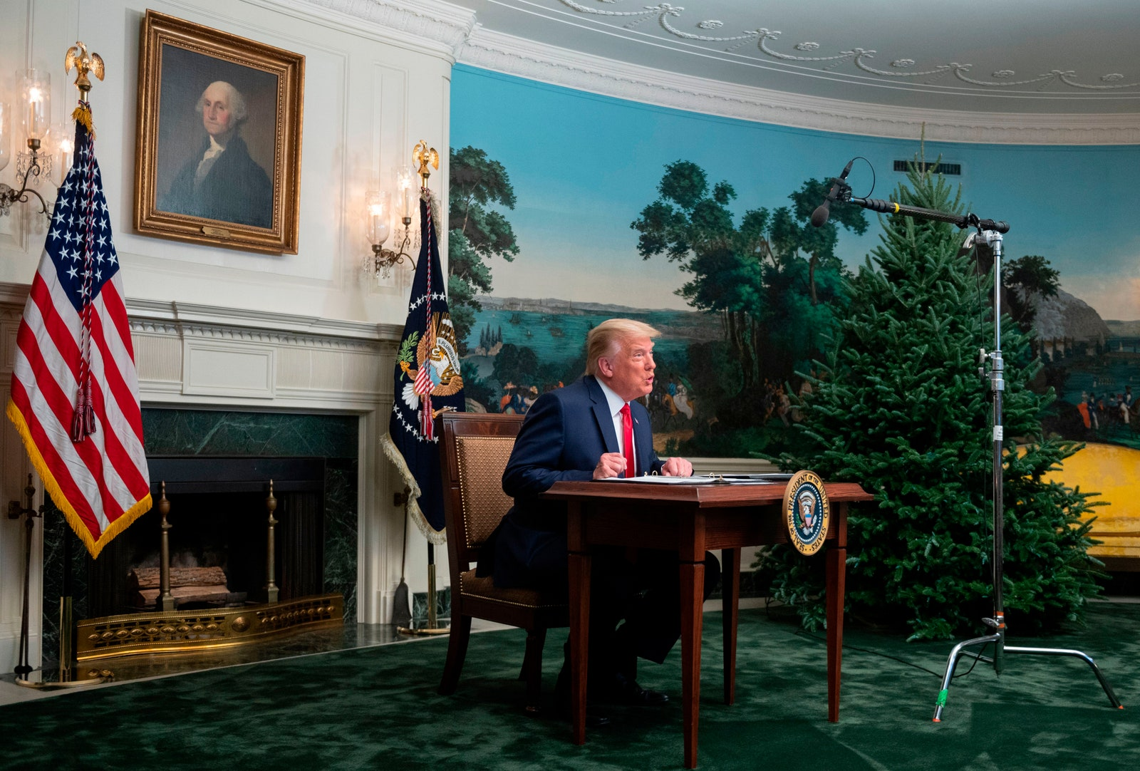 Donald Trump participates in a Thanksgiving teleconference