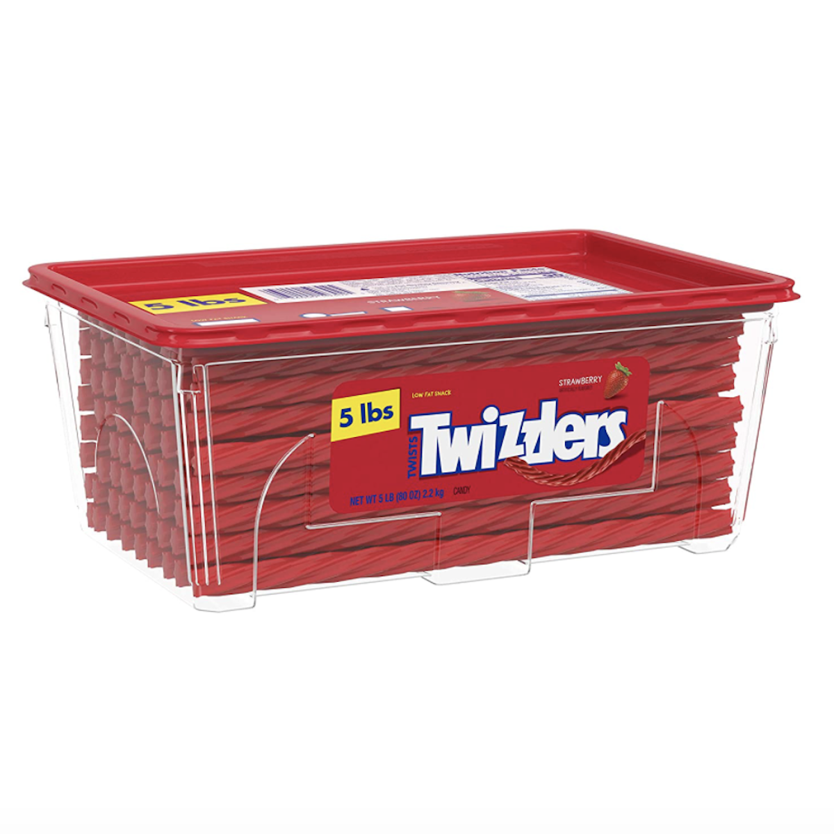 Twizzlers chewy candy in red storage container