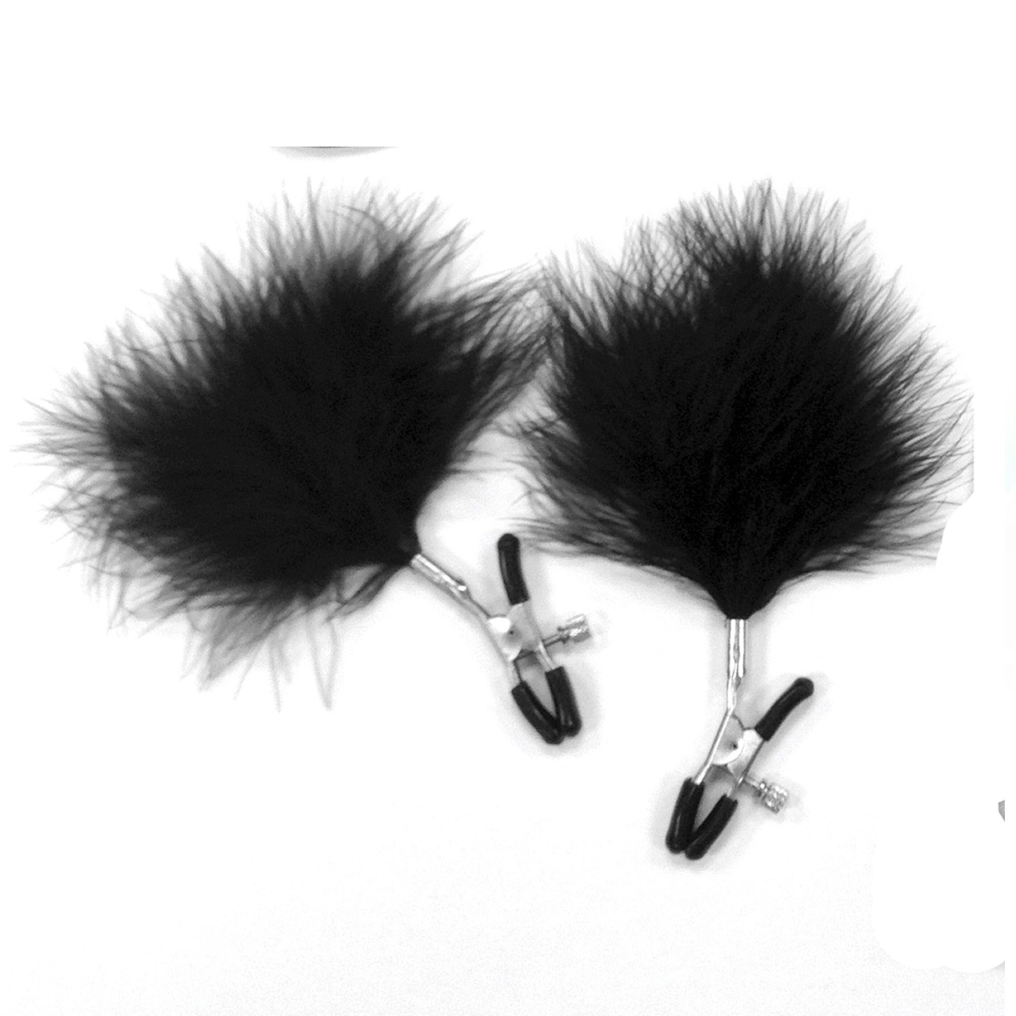 black feathered nipple clamps