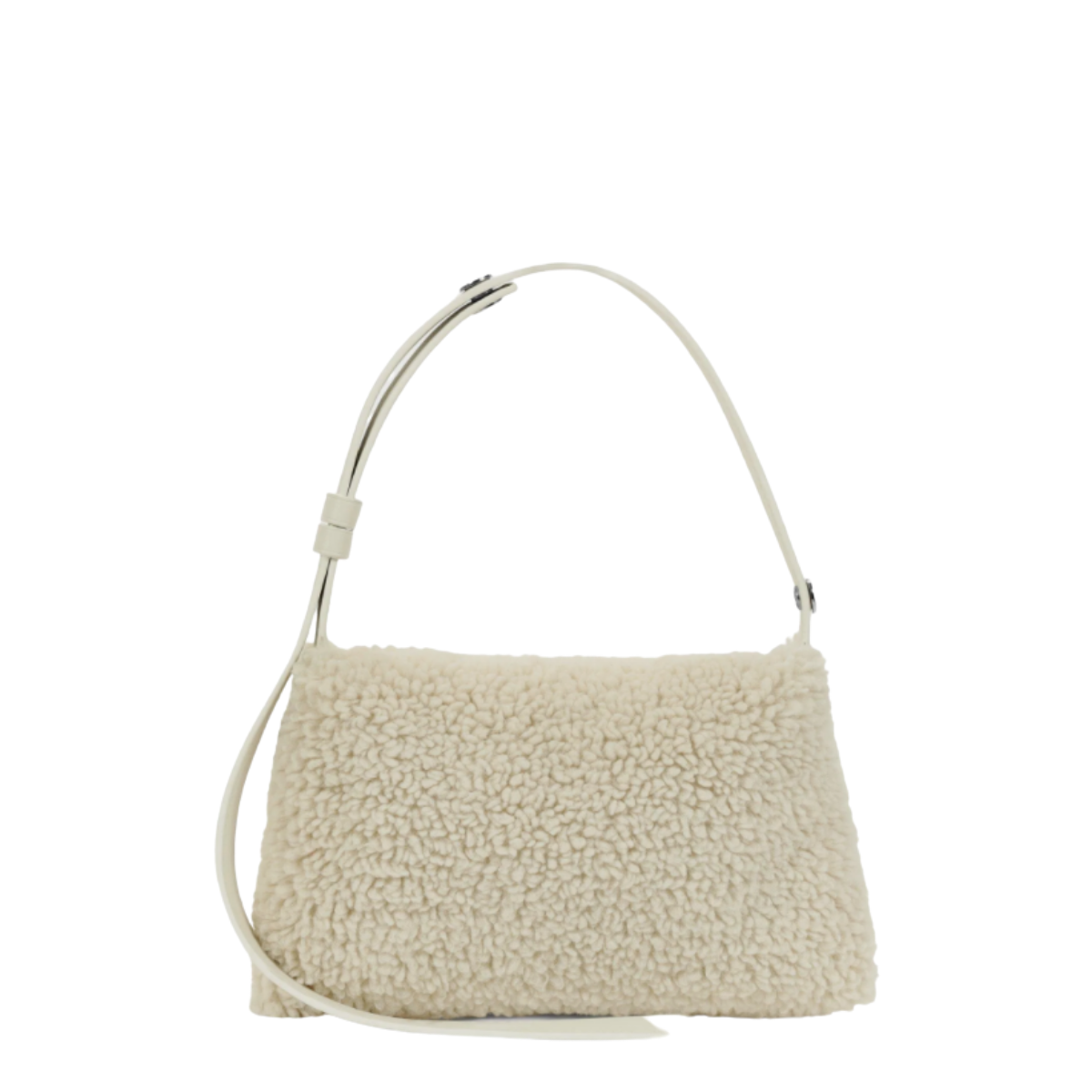 VERSATILE MINI PUFFIN BAG IN FAUX SHEARLING FEATURING A CONVERTIBLE STRAP AND MAGNETIC CLOSURE